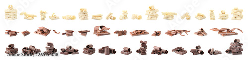 Photo Set of different delicious chocolate curls and pieces on white background