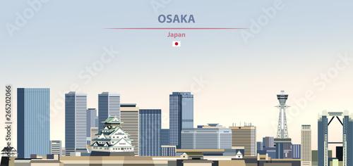 Fototapeta premium Ilustracja wektorowa panoramę miasta Osaka na kolorowe gradientowe piękne tło dzienne