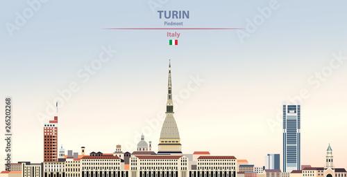 Stampa su Tela Vector illustration of Turin city skyline on colorful gradient beautiful daytime
