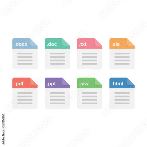 Fotografie, Tablou Document files format icons set