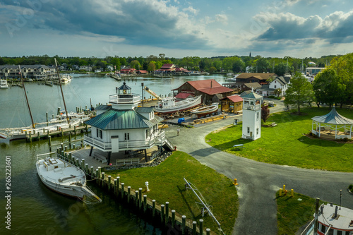 Fotografie, Tablou Aerial panorama of shipyard and lighthouse in St