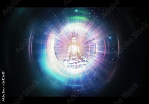 Fotografia Abstract Artistic 3d rendering illustration of a Colorful Buddha Meditation Thro