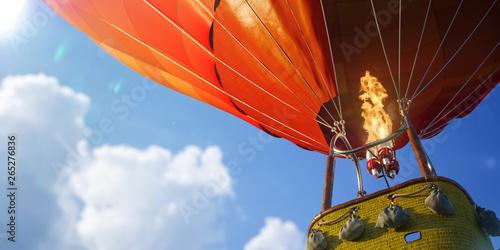 Fotografia Empty basket hot air balloon beautiful background