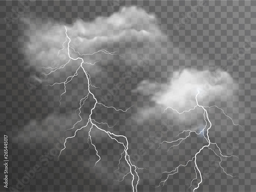 Fotografie, Obraz Vector realistic stormy clouds with lightning effects isolated on dark backgroun