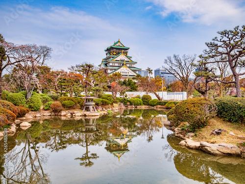 Fototapeta premium Zamek Osaka Keep Reflection