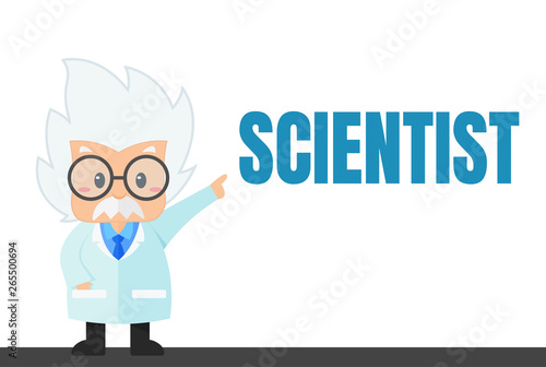 Photo Cartoon scientist in the lab and experiment That looks simple