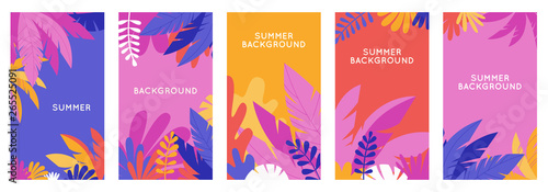 Vector set of social media stories design templates, backgrounds with copy space for text - summer backgrounds for banner, greeting card, poster and advertising