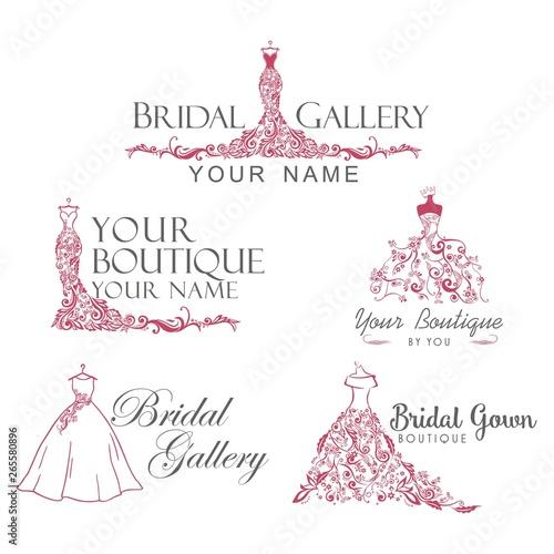 Photo Dress Boutique Bridal Collection Logo Set, Icon Template Illustration Vector Des