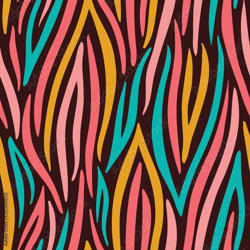 Carta da parati Colorful Abstract Hand Drawn Wavy Vector Seamless Pattern