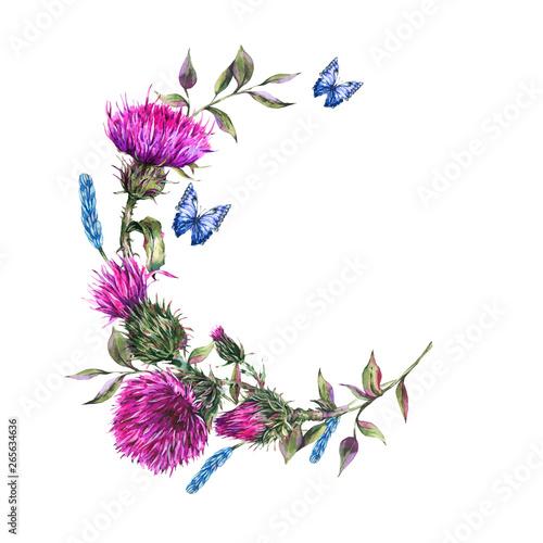 Obraz na plátně Watercolor thistle round frame, blue butterflies, wild flowers illustration