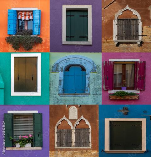 Ventanas de Venecia y Burano. Fototapeta