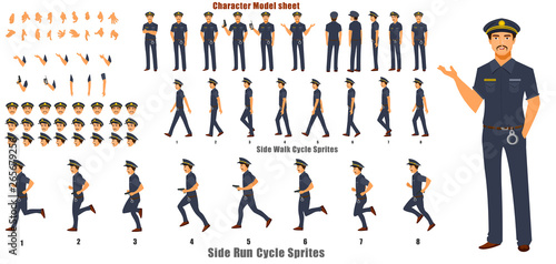Canvas Print Police Character Model sheet with Walk cycle Animation Sequence