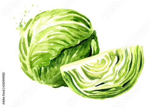 Whole cabbage with cutted one Fototapete