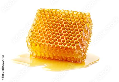 Honeycomb with honey drop in closeup Fototapeta