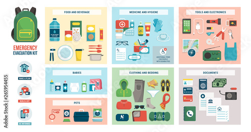 Canvas-taulu Emergency evacuation kit with supplies