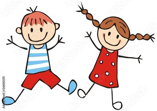 Two happy preschool kids, little girl and boy, funny vector illustration