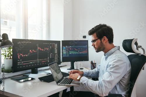 Fotografering Workplace of trader