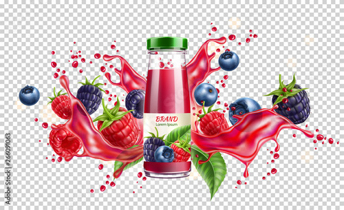 Photo Realistic forest berries juice advertising design with blackberry, blueberry and raspberry in juicy splashing liquid