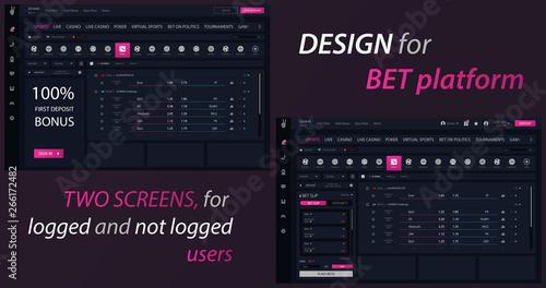 Bet platform ui design Fototapeta