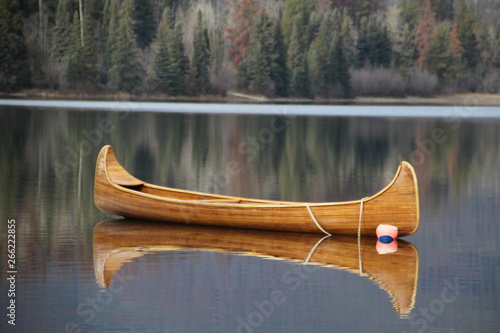 Stampa su Tela Canoe On Pyramid Lake, Jasper National Park, Alberta