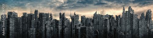 Obraz na płótnie Science fiction city dystopia panorama / 3D illustration of futuristic post apoc