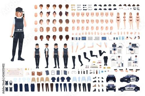Photo Policewoman animation set or DIY kit