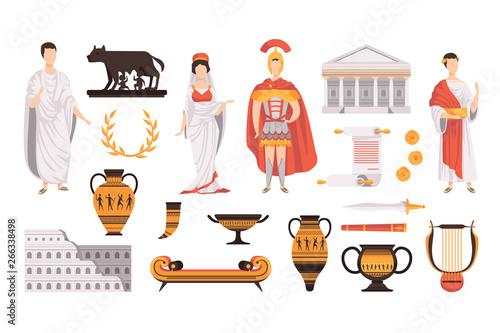 Vászonkép Traditional cultural symbols of ancient Rome set vector Illustrations on a white