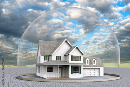 Canvas-taulu 3D rendering og a house inside a dome