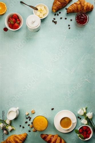 Slika na platnu Continental breakfast captured from above, flat lay, top view