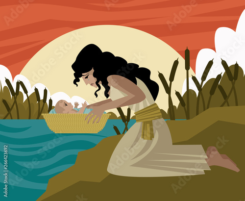 Fotografia, Obraz baby moses in a basket and mother in the river old testament tale