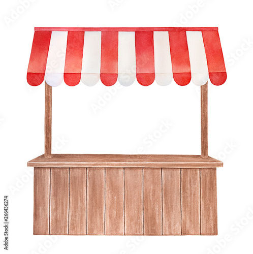 Carta da parati Watercolor illustration of wooden stall with red and white striped canopy, front view