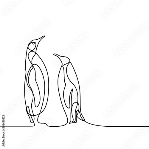 Stampa su Tela Continuous line drawing two penguins stand opposite each other