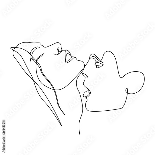 Fotografia Continuous one line beautiful woman and man kisses passionately