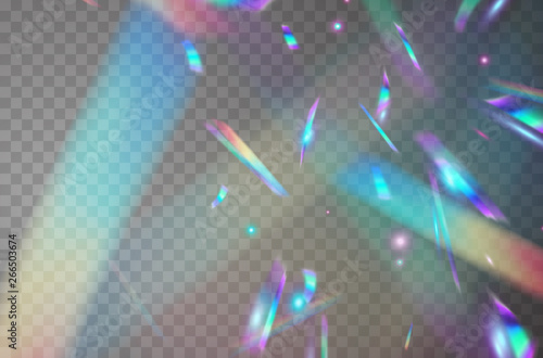 Holographic falling confetti isolated on transparent background. Rainbow iridescent overlay texture. Vector festive foil hologram tinsel with bokeh light effect and glare glitter.
