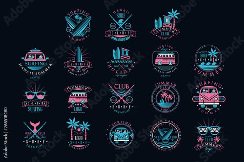 Obraz na płótnie Vector set of vintage logos for surfing club