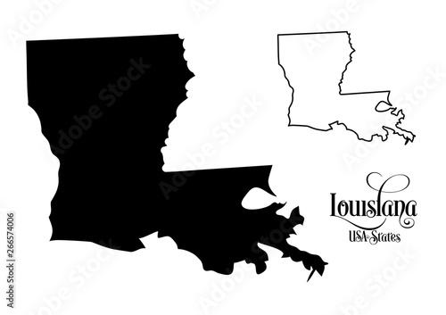 Obraz na plátně Map of The United States of America (USA) State of Louisiana - Illustration on White Background