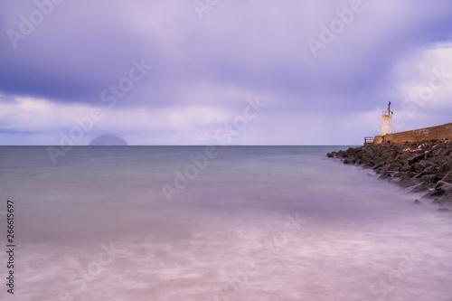 Billede på lærred Girvan Harbour and Ailsa Craig in South Ayrshire Scotland.