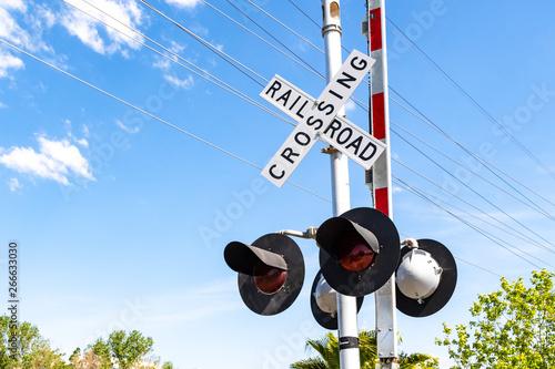 Obraz na płótnie Railroad Crossing stop light and barrier