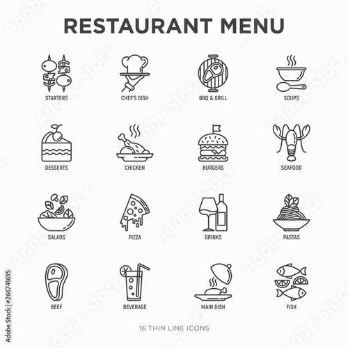 Photo Restaurant menu thin line icons set: starters, chef dish, BBQ, soup, beef, steak, beverage, fish, salad, pizza, wine, seafood, burger