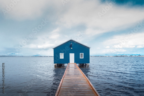 Canvas Print Beautiful scenery at Matilda Bay boathouse in the Swan River in Perth, Western Australia