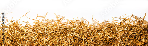 Canvas Print a bunch of straw as border, isolated with white background