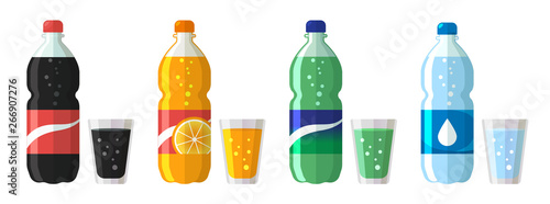 set of plastic bottle of water and sweet soda with glasses. Flat vector water soda icons illustration isolated on white