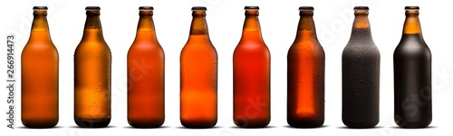 Fotografie, Obraz 600ml beer bottles with drops and dries on white background