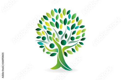 Logo tree family people ecology symbol