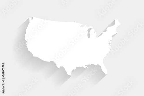 Simple white United States map on gray background, vector