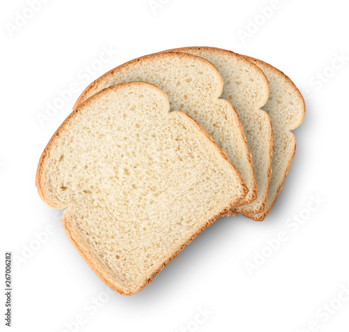 Foto Set of slices toast bread isolated on white