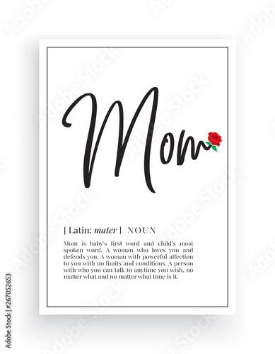 Photo Minimalist Wording Design, Mom definition, Wall Decor, Wall Decals Vector, Mom n