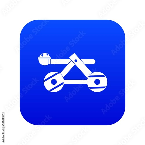Stampa su Tela Ancient wooden catapult icon digital blue for any design isolated on white vecto