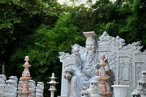 Stampa su Tela Marble carved statues in Guan Yin shrine in Bangkok, Thailand