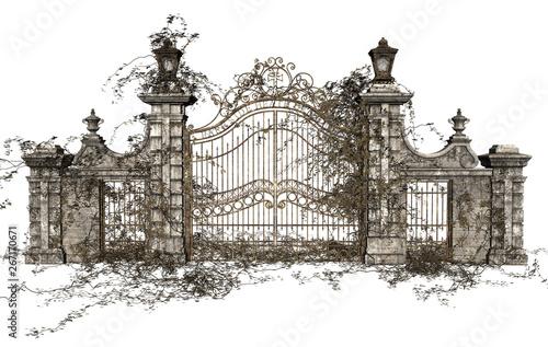 Foto 3D Rendered Cast Iron Gate on White Background - 3D Illustration